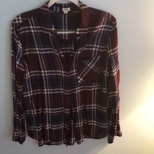 Maroon and blue flannel